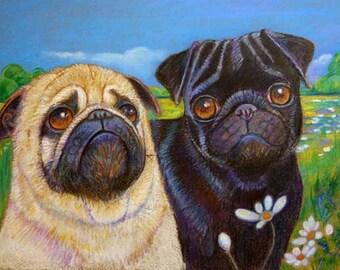 Fawn Pug art Black pug fawn pug  painting landscape ORIGINAL Dog Art pugs whimsical