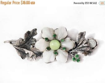 20% OFF SALE - Antique White Art Glass Flower and Rhinestone Silver-Tone Metal Brooch