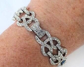 20% OFF SALE - Vintage CROWN Trifari Crystal Clear Rhinestone Link Bracelet