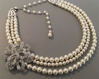 Backdrop Necklace in Pearl with Brooch 3 multi strands Cream ivory Swarovski pearls or your choice of color silver ir rise gold wedding