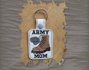 Army Mom Key Fob, Key Chain, Luggage Tag, Bag Clip, Vinyl, Key Ring, Back Pack Pull, Purse Charm