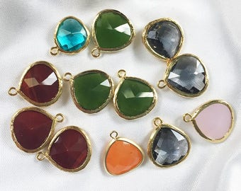 LOT of 12 * 15 x 18mm Teardrop PENDANTS * Gold Frame * Glass * Lot of 12 pieces * Green, Wine, Gray, Pink, Turquoise