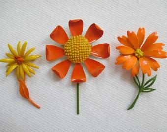 Vintage Enamel Flower Pins - Orange Yellow - Retro - Flower Pin Decor - Three in Lot