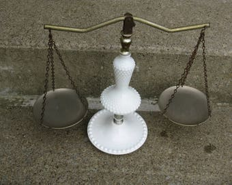 mid century milkglass scale of justice hobnail pattern grannie chic cottage mid century kitsch