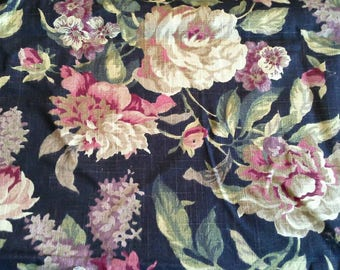 Large Floral Print in Tans, Mauve and Dark Red on Black Background Decorator Fabric 2 1/2 YardsX0947