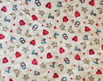 Hearts Stars Numbers Print Quilting Cotton fabric 6 Yards X1284 The English Collection