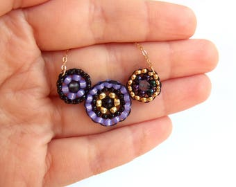 Beaded purple gold black 14k gold filed round necklace