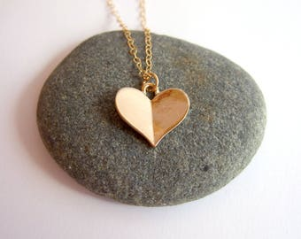 Gold origami heart necklace - 14k gold filed, Valentine's Day Gift, Heart Jewelry