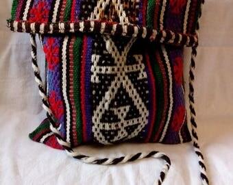 Uzbek wool woven tribal bag. Boho bag