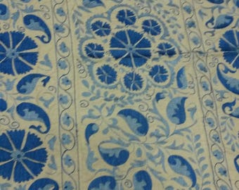 Uzbek hand embroidered blue Medallions suzani. Wall hanging, bed cover suzani