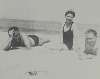 Vintage Summer Photo - Sunbathers on a Beach