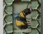 """tiny spring bee original 2x3"""" miniature a2n2koon original painting on watercolor paper framed art in 3.25x4.25"""" rustic wood stand-up frame"""