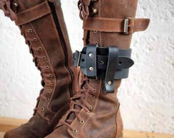 Unisex Leather Boot Garter  - Black - steampunk - burning man - apocalypse - mad max, Please read Description for size