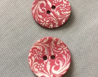 Pink white paisley pattern shell button 17mm x 2