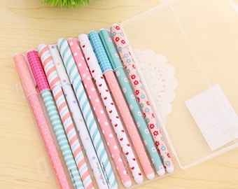 10 gel pens in case - Cute colors for kawaii planner drawing scrapbook journal craft swap mail stationery - Lillibon