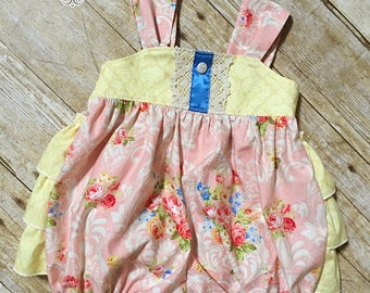 Girls Ruffled Sunsuit Bubble Romper Victorian Chic Collection