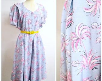 1940s Blue pink palm tree print rayon day dress / 40s novelty print zip front house dress - M