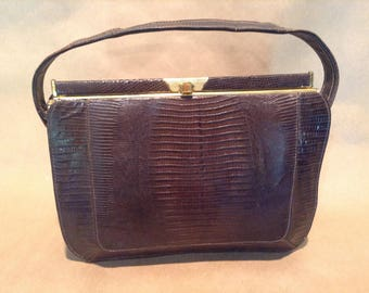 Vintage Lizard Skin Handbag Purse, 1960s
