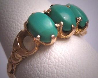 Antique Persian Turquoise Ring Georgian Victorian 14K Gold Wedding Band c.1900