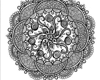 Mandala Digital Download Coloring page/Zen/floral/zentangle/henna/adult coloring/coloring pages
