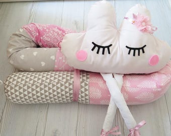 Snake Pillow , Baby Bumper , Crib Bumpers , Pink and Gray Baby bedding , Bumper Bed Pillow , Star Print Pillow