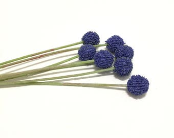 BLUE Billy Button Spray - Craspedia, Artificial Flowers, Flower Crown, Woodland, Wild Flowers, DIY Wedding, Hair Accessories, Millinery