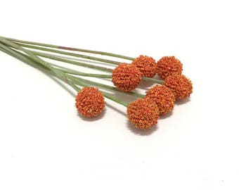 ORANGE Billy Button Spray - Craspedia, Artificial Flowers, Flower Crown, Woodland, Wild Flowers, DIY Wedding, Hair Accessories, Millinery