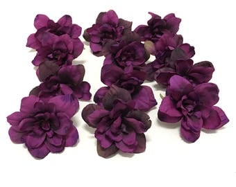12 Deep Eggplant Purple Delphinium Blossoms - 3 Inches - Artificial Flowers, Silk Flowers, DIY Wedding, Flower Crown, Tutu, Hair Accessories