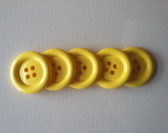 Large 2 Inch  Buttons  - Lot of 5 Yellow buttons