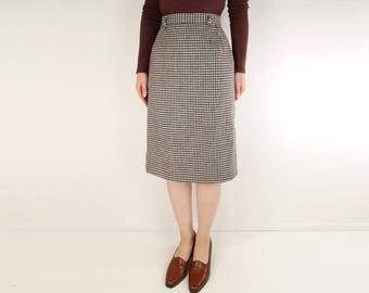 VINTAGE Houndstooth Skirt Brown Wool 1960s Pencil Skirt