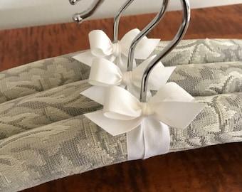 Padded Hangers, Silver Wedding Hangers, Bridesmaid Hangers, Wedding Trousseau Hangers, Bridal Hanger Set, Silver Brocade Covered Hangers