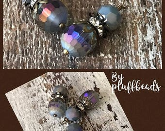 SALE bd951pu NEW Vintage Style French iridescent purple and blues pendant dangle drops frosted faceted crystal beads 2 pcs.