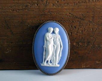 Vintage Wedgwood Blue Jasperware Brooch