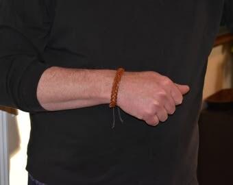 Brown Leather Braided Bracelet, Boho Style, Mens Leather Bracelet, Rock Star Style