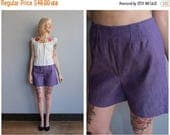 20% Off Sale 1960s Shorts // Deep Purple Twill Shorts // vintage 60s shorts