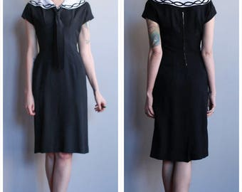 1950s Dress // Domino Sheath Dress // vintage 50s dress