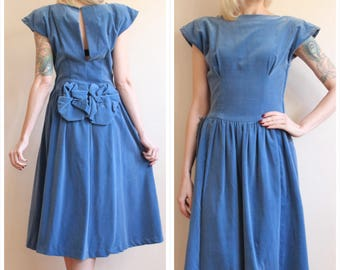 1940s Dress // Blue Velvet Party Dress // vintage 40s dress