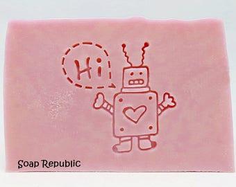 SoapRepublic 'Hi Robot' Acrylic Soap Stamp / Cookie Stamp / Clay Stamp