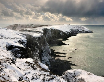 the old head of kinsale covered in snow