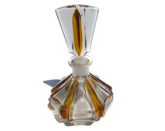 Cut Glass Perfume Bottle Vintage German Clear Glass with Amber Coloring Tall Art Deco Revival Mid Century Large Round Base