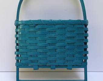 Dark Teal wicker wall pocket basket with wood pegs  vintage hanging wicker basket Mail and Key Holder/ Magazine / flower bouquet