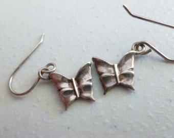 Silver Butterfly Earrings - 925 Silver Vintage Earrings - 925 Butterflies - Vintage Earrings - Silver Vintage Butterfly Earrings