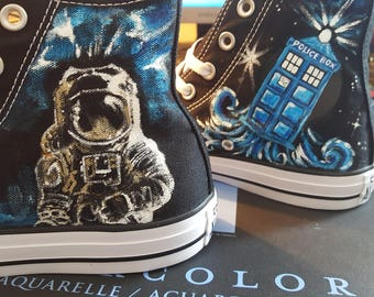 DOCTOR WHO Shoes Hand painted Converse River Song Space Tom Baker Scarf  and Don't Blink  wrapped and custom Shoes Sneakers   Personalized