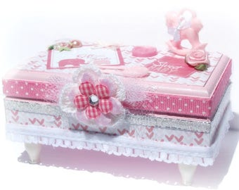 Baby Girl Keepsake Box Pink and White