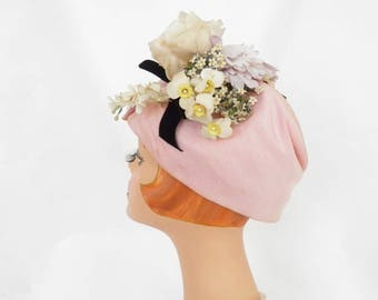 Lilly Dache hat, vintage 1960s, pink with flowers, Paris New York