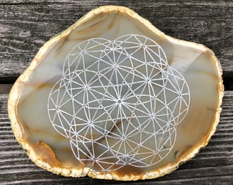 """5"""" Sacred Geometry Etched Natural Agate Slice Polished #3"""