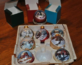 Hand Painted Christmas Ornaments package of 6, comes with individual boxes for each ornament