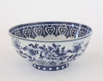 Large Blue and White Ceramic Serving Bowl