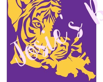 Lsu Tiger State Logo  Cut Cutting File Cut Cutting File - .SVG,  DXF, Silhouette, .Jpg  , Cricut, Cutter, Vinyl, HTV