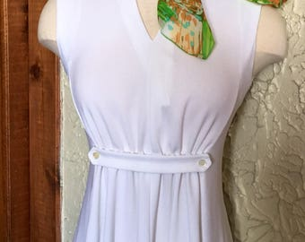 60's White Empire Waist Polyester Maxi  Dress
